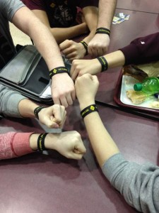 Vinton County High School students show off their Safe Place wristbands